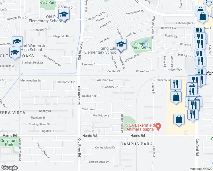 map of restaurants, bars, coffee shops, grocery stores, and more near 9316 Cadbury Drive in Bakersfield