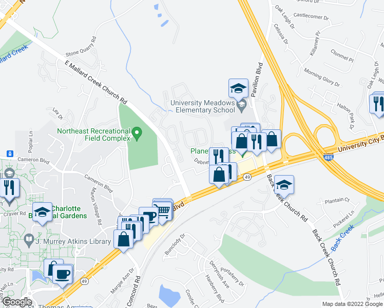 map of restaurants, bars, coffee shops, grocery stores, and more near 10040 Dabney Drive in Charlotte