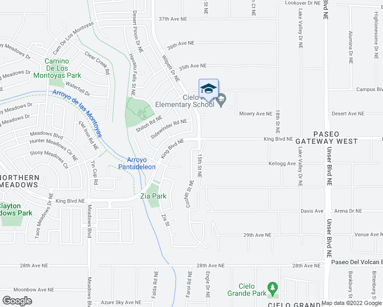 map of restaurants, bars, coffee shops, grocery stores, and more near 3337 Cochiti Street Northeast in Rio Rancho