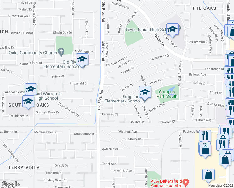 map of restaurants, bars, coffee shops, grocery stores, and more near 9407 Chatfield Court in Bakersfield