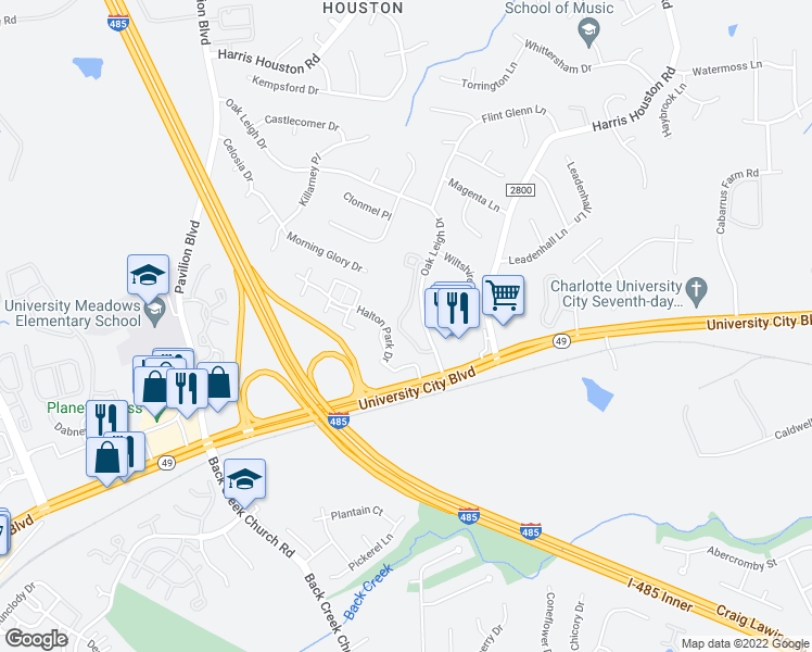 map of restaurants, bars, coffee shops, grocery stores, and more near 1811 Wexford Meadows Lane in Charlotte