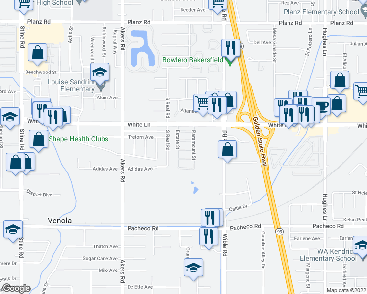 map of restaurants, bars, coffee shops, grocery stores, and more near 3600 Sahara Lane in Bakersfield