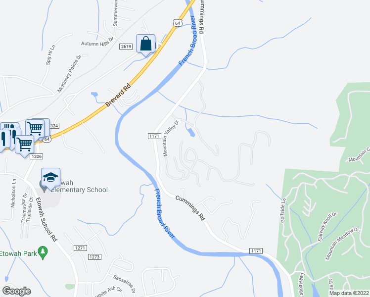 map of restaurants, bars, coffee shops, grocery stores, and more near 238 Circle Top Drive in Hendersonville