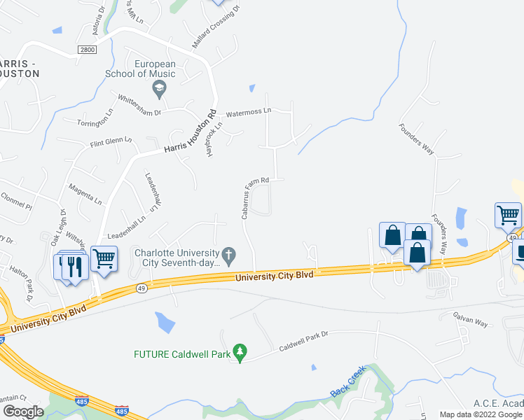 map of restaurants, bars, coffee shops, grocery stores, and more near 11609 Windy Creek Drive in Charlotte