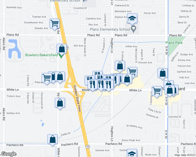 map of restaurants, bars, coffee shops, grocery stores, and more near 3900 El Potrero Lane in Bakersfield