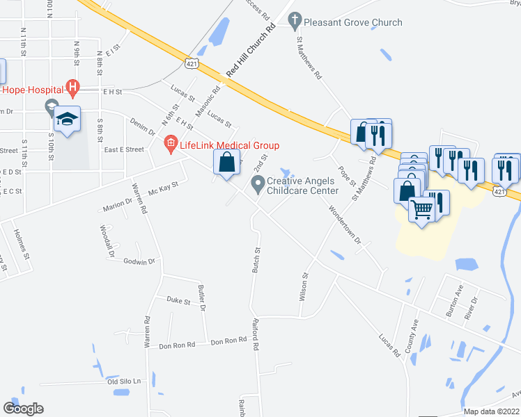 map of restaurants, bars, coffee shops, grocery stores, and more near 1309 Denim Drive in Erwin