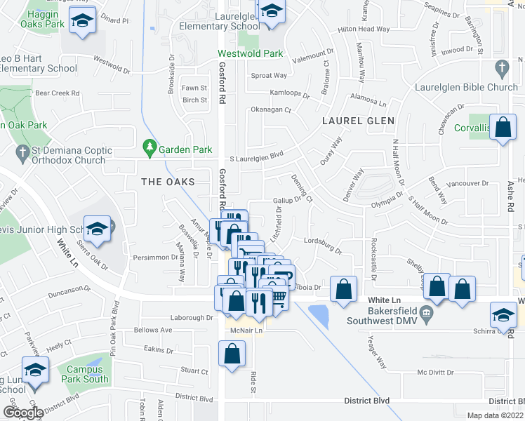 map of restaurants, bars, coffee shops, grocery stores, and more near 7904 Animas Court in Bakersfield