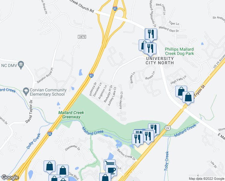 map of restaurants, bars, coffee shops, grocery stores, and more near 9740 Ashley Lake Court in Charlotte