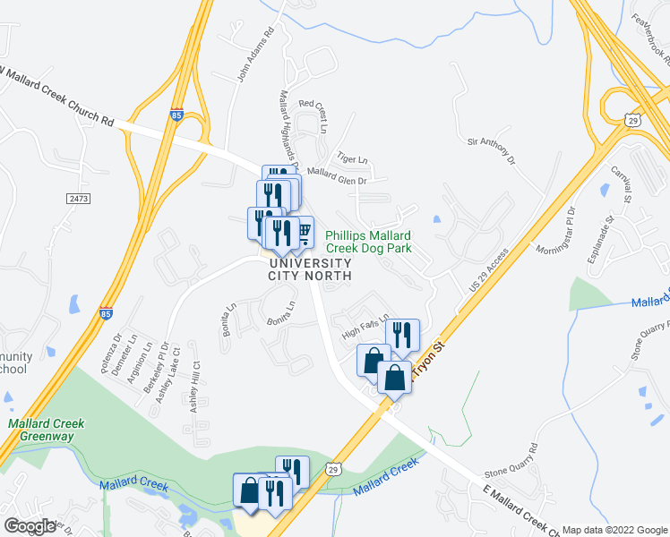 map of restaurants, bars, coffee shops, grocery stores, and more near 655 West Mallard Creek Church Road in Charlotte