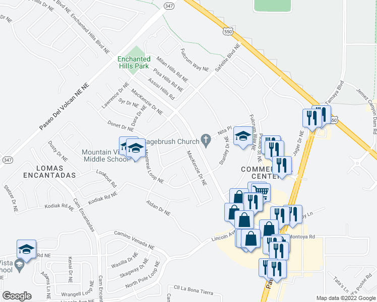 map of restaurants, bars, coffee shops, grocery stores, and more near 7513 Mackenzie Drive Northeast in Rio Rancho