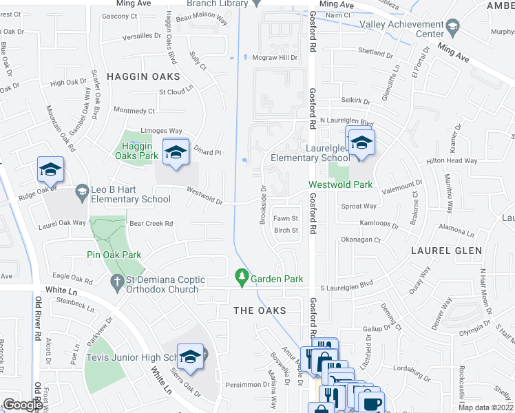 map of restaurants, bars, coffee shops, grocery stores, and more near 2807 Brookside Drive in Bakersfield