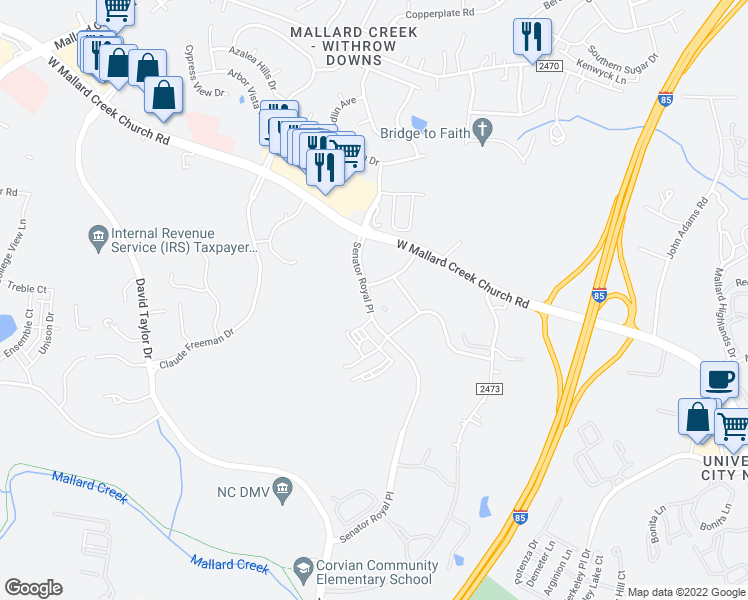 map of restaurants, bars, coffee shops, grocery stores, and more near 1827 Alexander Highlands Drive in Charlotte