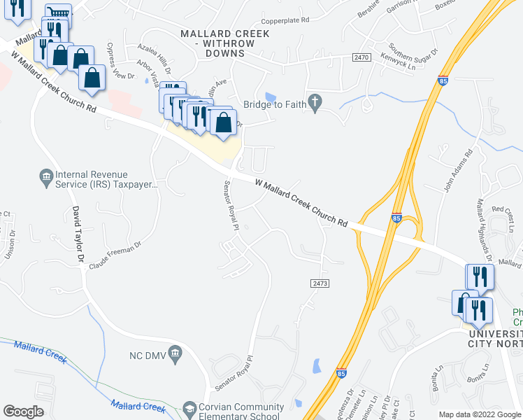 map of restaurants, bars, coffee shops, grocery stores, and more near 9224 Graham Ridge Drive in Charlotte