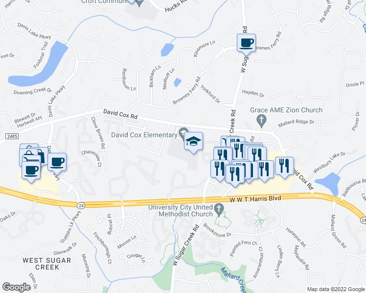 map of restaurants, bars, coffee shops, grocery stores, and more near 4215 David Cox Road in Charlotte