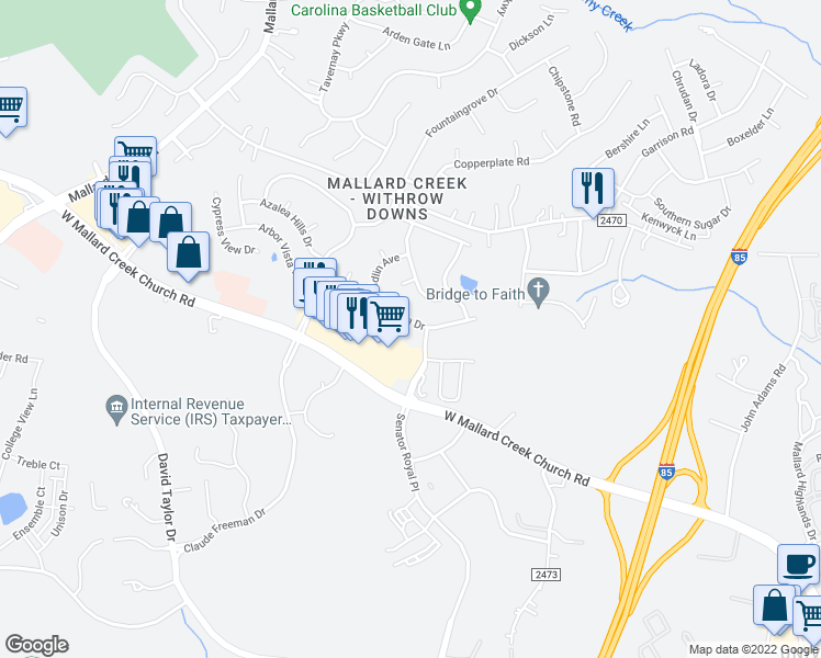 map of restaurants, bars, coffee shops, grocery stores, and more near 1811 Arbor Vista Drive in Charlotte