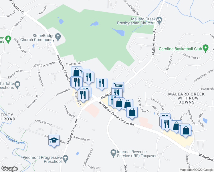 map of restaurants, bars, coffee shops, grocery stores, and more near 2534 Crescent View Drive in Charlotte