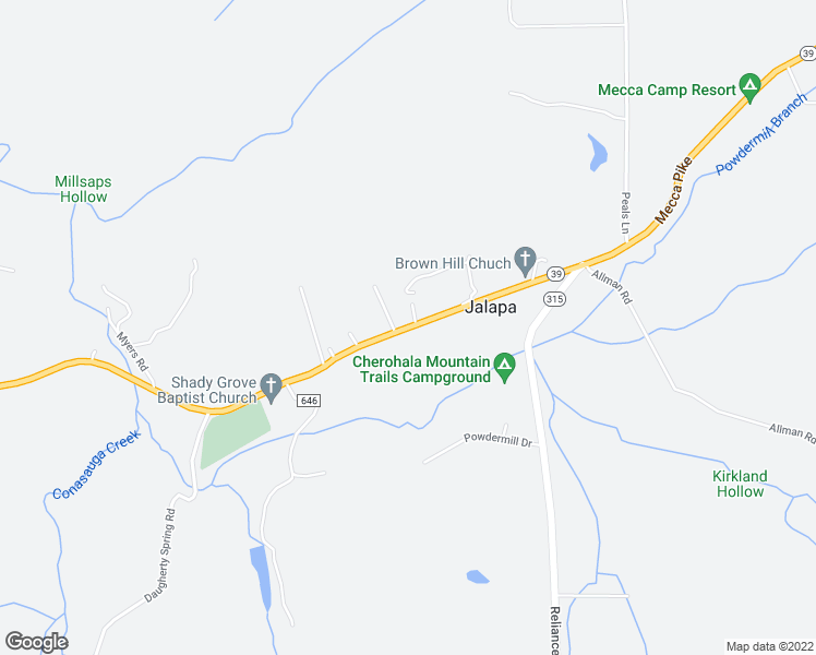 map of restaurants, bars, coffee shops, grocery stores, and more near Mecca Pike in Tellico Plains
