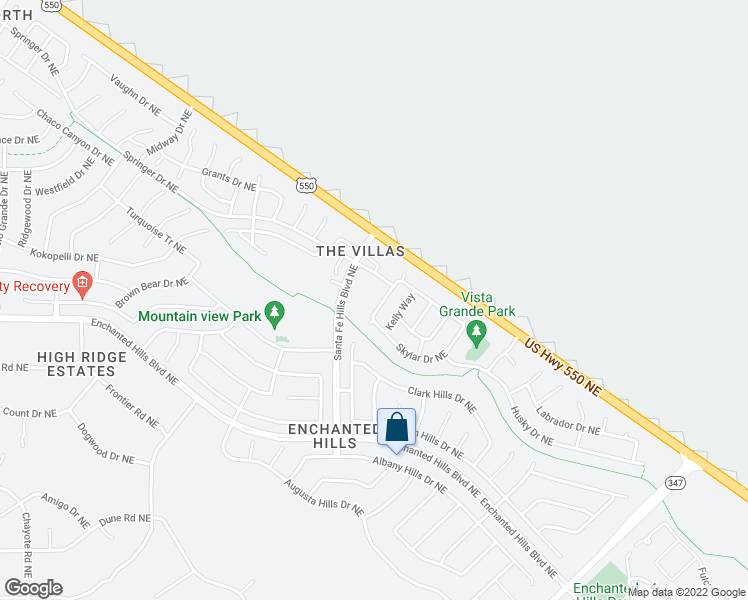map of restaurants, bars, coffee shops, grocery stores, and more near Bailey Way Northeast in Rio Rancho