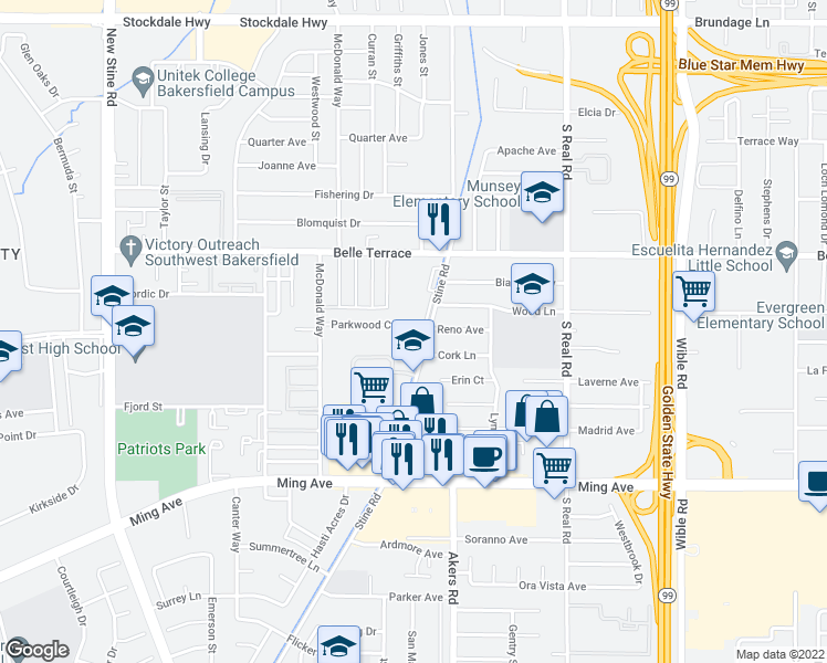 map of restaurants, bars, coffee shops, grocery stores, and more near 4201 Parkwood Court in Bakersfield
