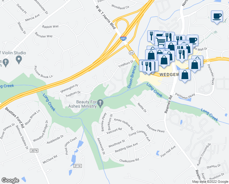 map of restaurants, bars, coffee shops, grocery stores, and more near 9411 Kimmel Lane in Charlotte