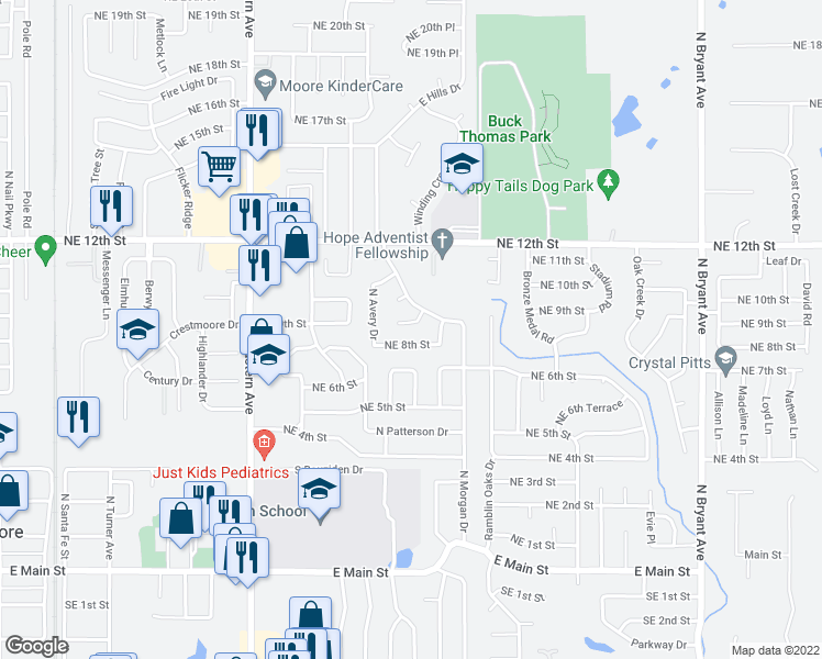 map of restaurants, bars, coffee shops, grocery stores, and more near 1124 Northeast 9th Court in Moore