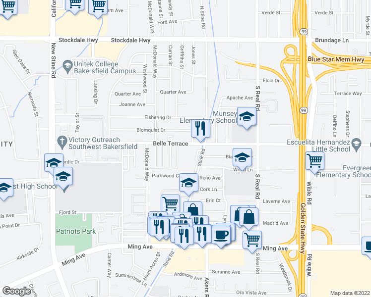 map of restaurants, bars, coffee shops, grocery stores, and more near 4301 Belle Terrace in Bakersfield