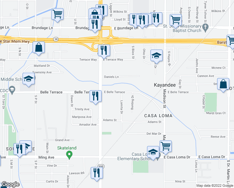 map of restaurants, bars, coffee shops, grocery stores, and more near 227 East Belle Terrace in Bakersfield