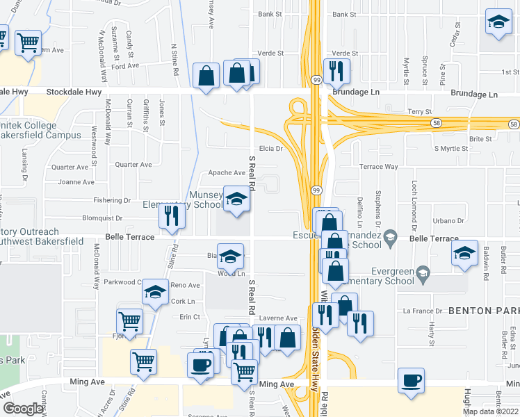 map of restaurants, bars, coffee shops, grocery stores, and more near 600 South Real Road in Bakersfield