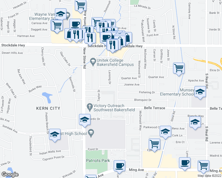 map of restaurants, bars, coffee shops, grocery stores, and more near 5001 Hunter Avenue in Bakersfield