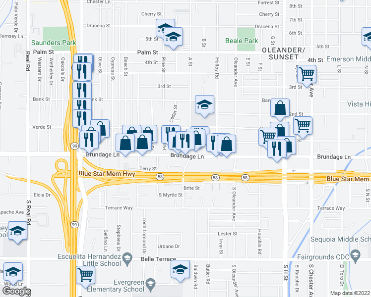 map of restaurants, bars, coffee shops, grocery stores, and more near 27 A Street in Bakersfield