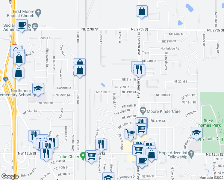 map of restaurants, bars, coffee shops, grocery stores, and more near 600 Northeast 20th Street in Moore