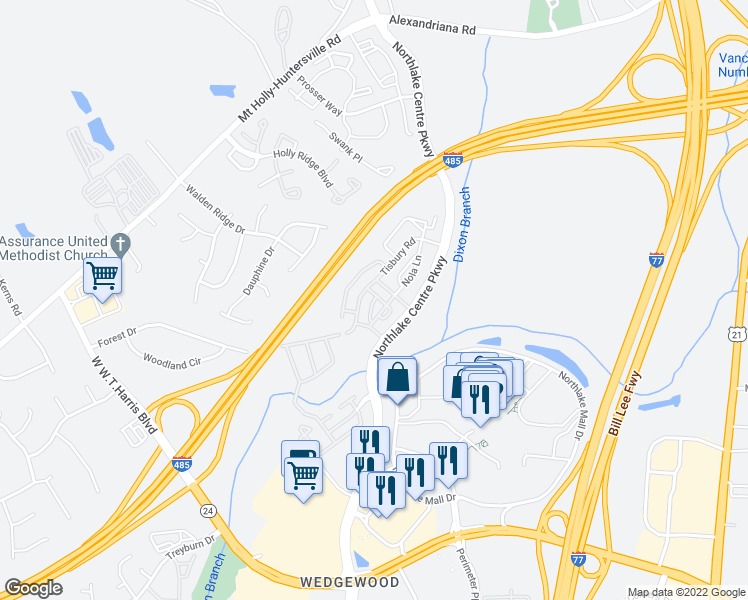 map of restaurants, bars, coffee shops, grocery stores, and more near 8524 Mason Andrew Way in Charlotte