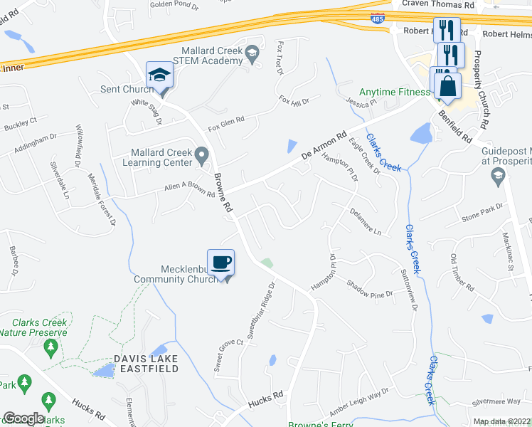 map of restaurants, bars, coffee shops, grocery stores, and more near 11902 Brownestone View Drive in Charlotte