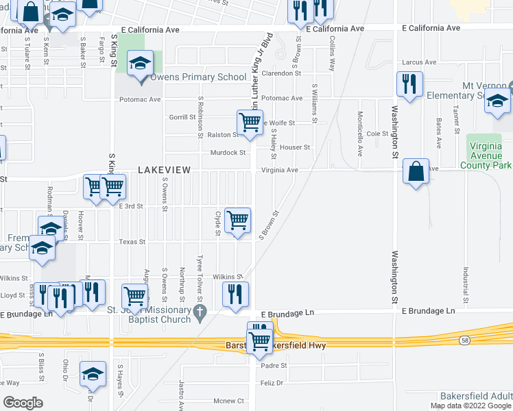 map of restaurants, bars, coffee shops, grocery stores, and more near 301 Doctor Martin Luther King Junior Boulevard in Bakersfield