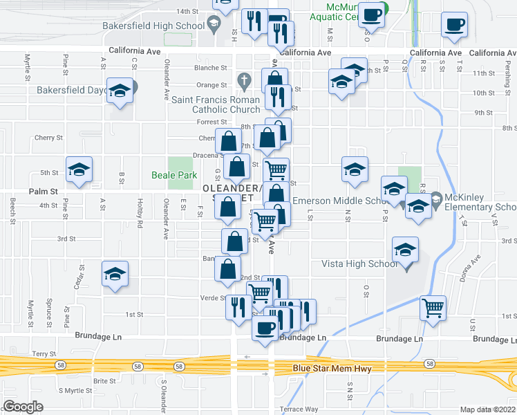 map of restaurants, bars, coffee shops, grocery stores, and more near 330 Eye Street in Bakersfield