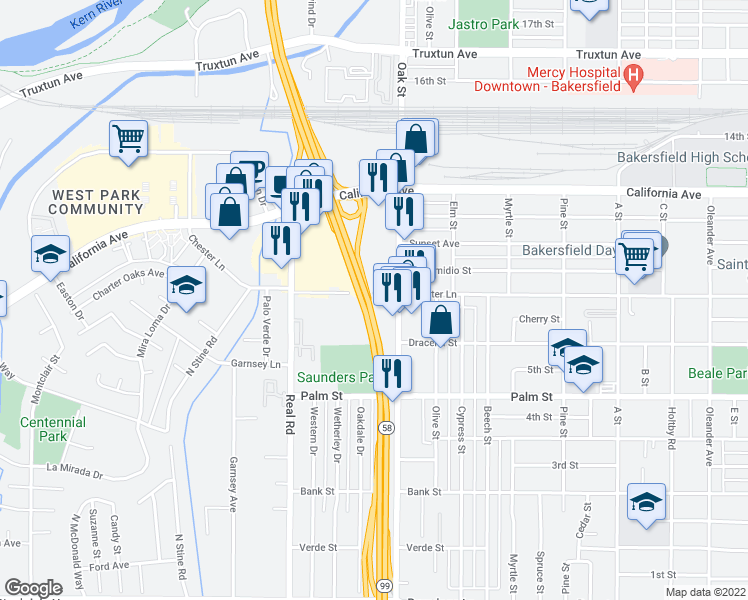 map of restaurants, bars, coffee shops, grocery stores, and more near 3275 Chester Lane in Bakersfield