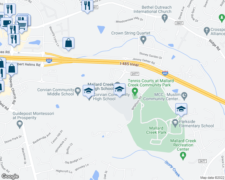 map of restaurants, bars, coffee shops, grocery stores, and more near 4093-4135 Johnston Oehler Road in Charlotte