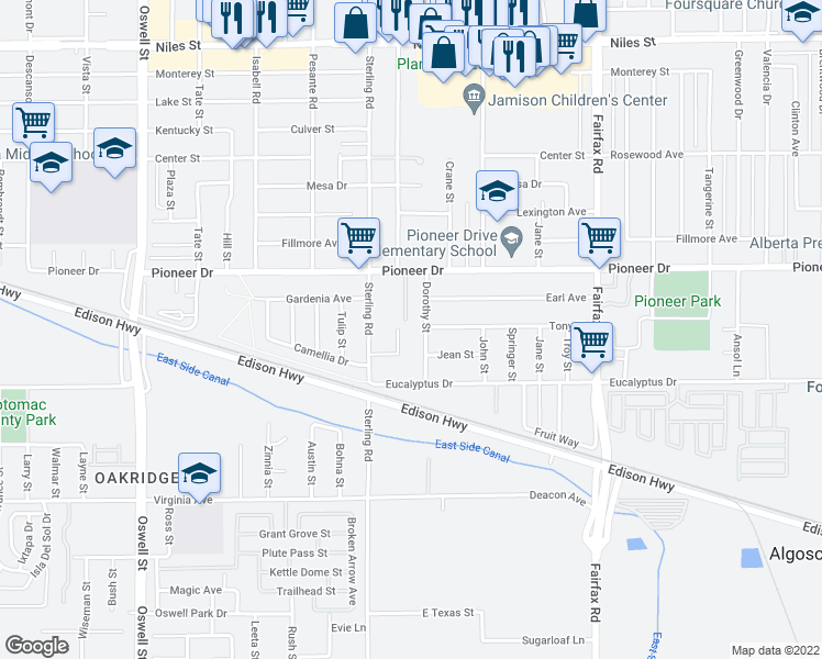 map of restaurants, bars, coffee shops, grocery stores, and more near 504 Dorothy Street in Bakersfield