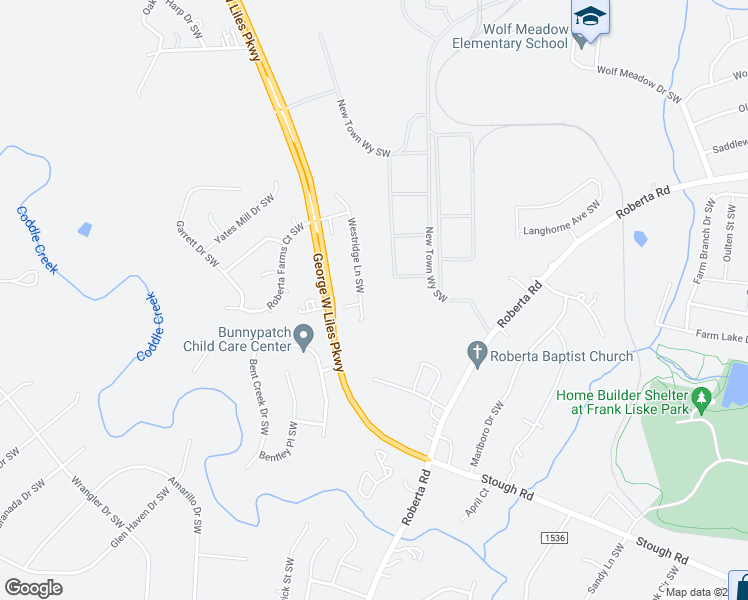 map of restaurants, bars, coffee shops, grocery stores, and more near 3301 Westridge Lane Southwest in Concord