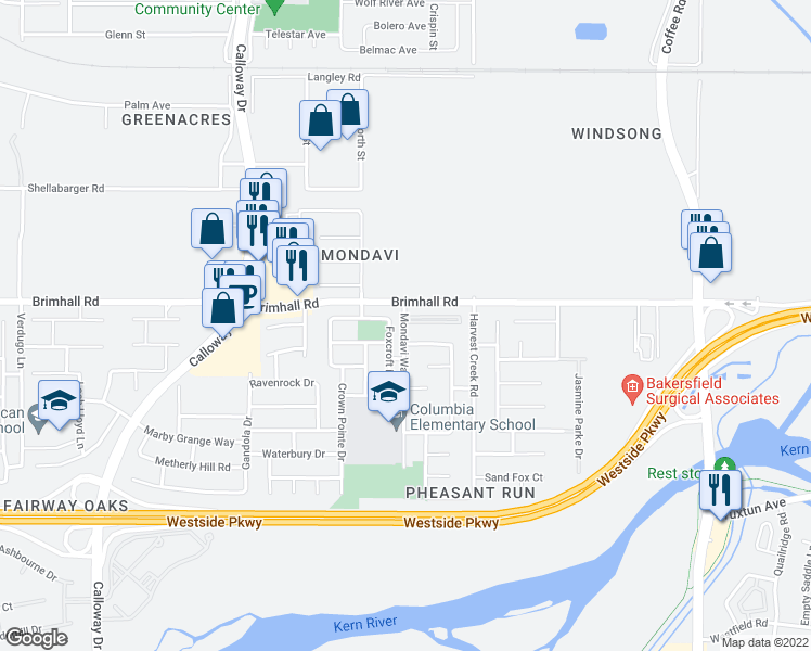 map of restaurants, bars, coffee shops, grocery stores, and more near 1100 Mondavi Way in Bakersfield