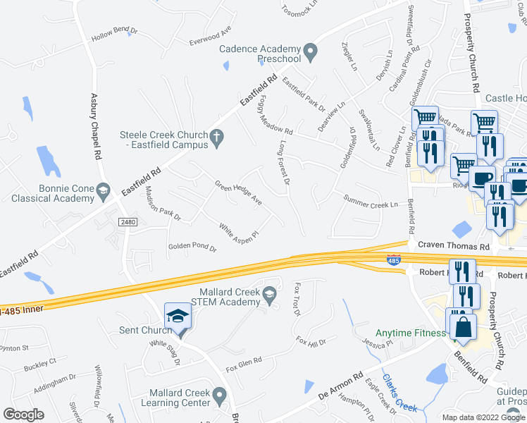map of restaurants, bars, coffee shops, grocery stores, and more near 10117 Green Hedge Avenue in Charlotte