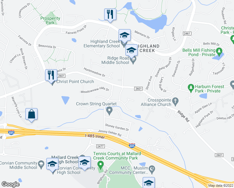 map of restaurants, bars, coffee shops, grocery stores, and more near 6222 Shelley Avenue in Charlotte