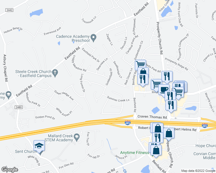 map of restaurants, bars, coffee shops, grocery stores, and more near 6054 Shining Oak Lane in Charlotte