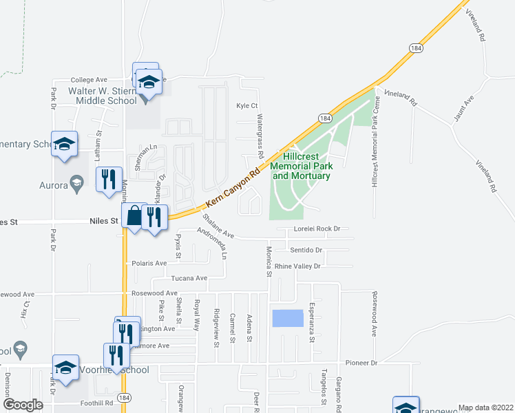 map of restaurants, bars, coffee shops, grocery stores, and more near 8921 Eastwind Circle in Bakersfield