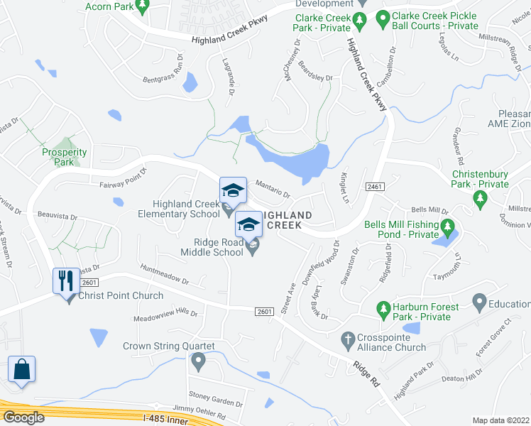 map of restaurants, bars, coffee shops, grocery stores, and more near 7237 Atwater Lane in Charlotte
