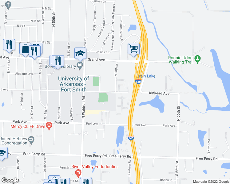 map of restaurants, bars, coffee shops, grocery stores, and more near 600-756 North 58th Street in Fort Smith