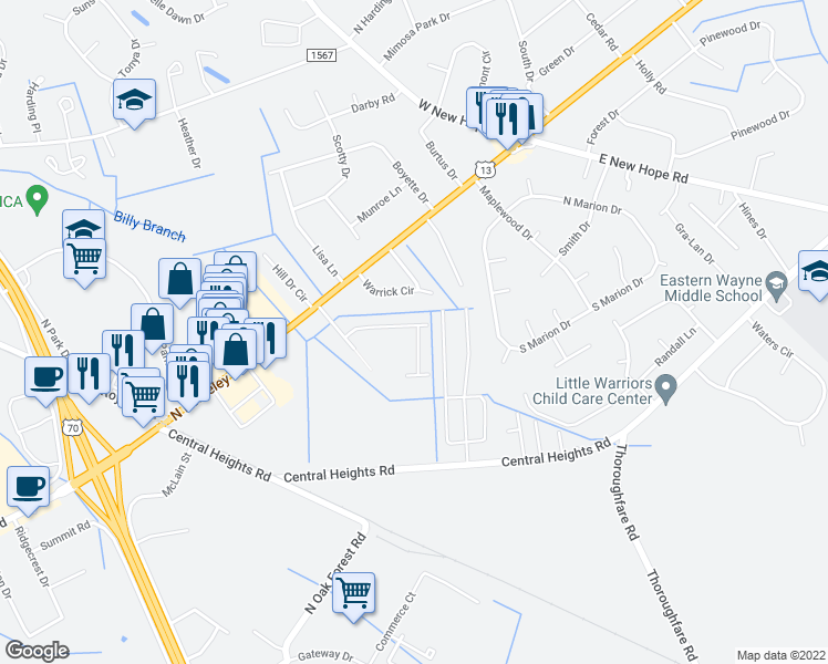 map of restaurants, bars, coffee shops, grocery stores, and more near 105 Fallin Boulevard in Goldsboro