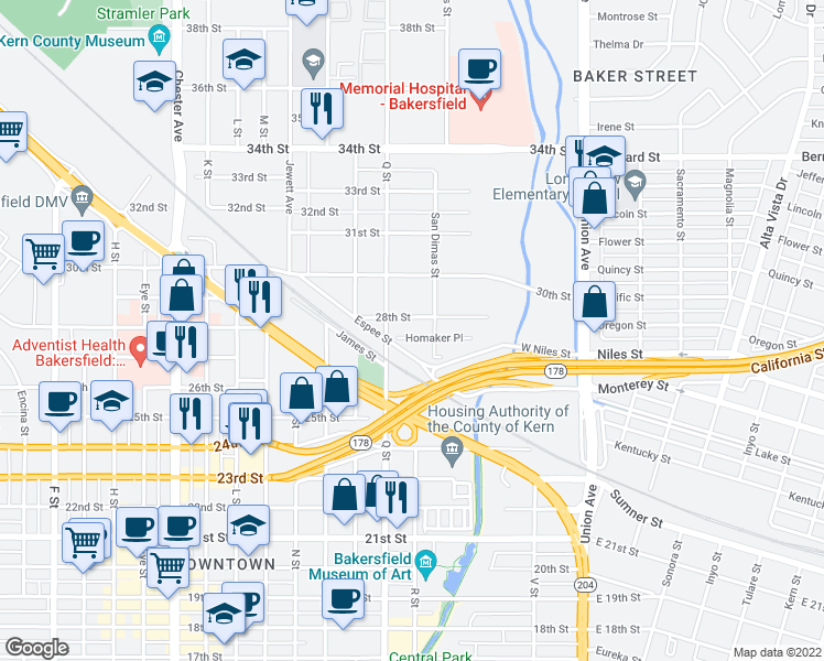map of restaurants, bars, coffee shops, grocery stores, and more near 631 28th Street in Bakersfield