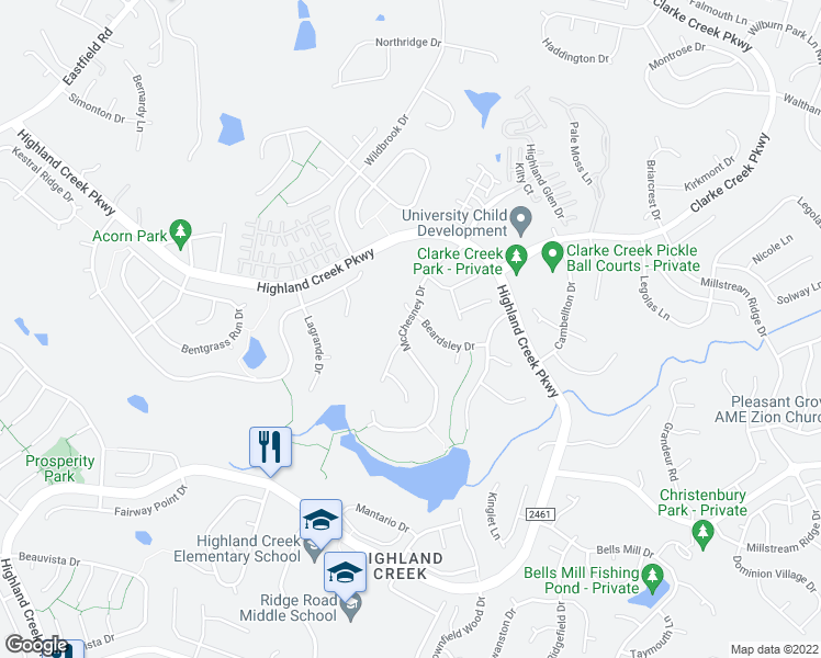 map of restaurants, bars, coffee shops, grocery stores, and more near 5614 McChesney Drive in Charlotte