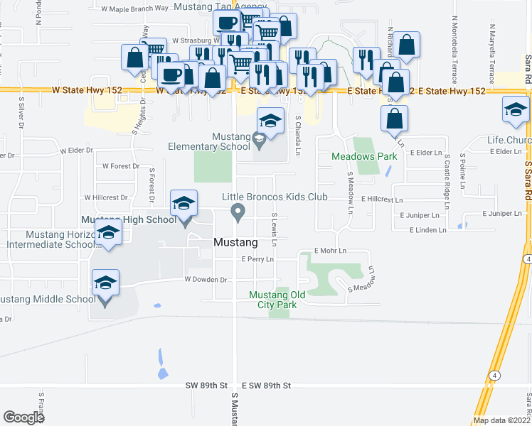 map of restaurants, bars, coffee shops, grocery stores, and more near 141 East Juniper Lane in Mustang